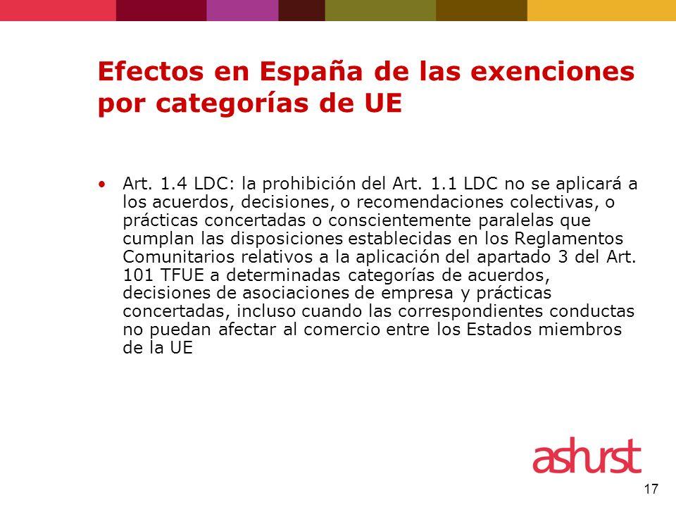 Efectos en España de las exenciones por categorías de UE