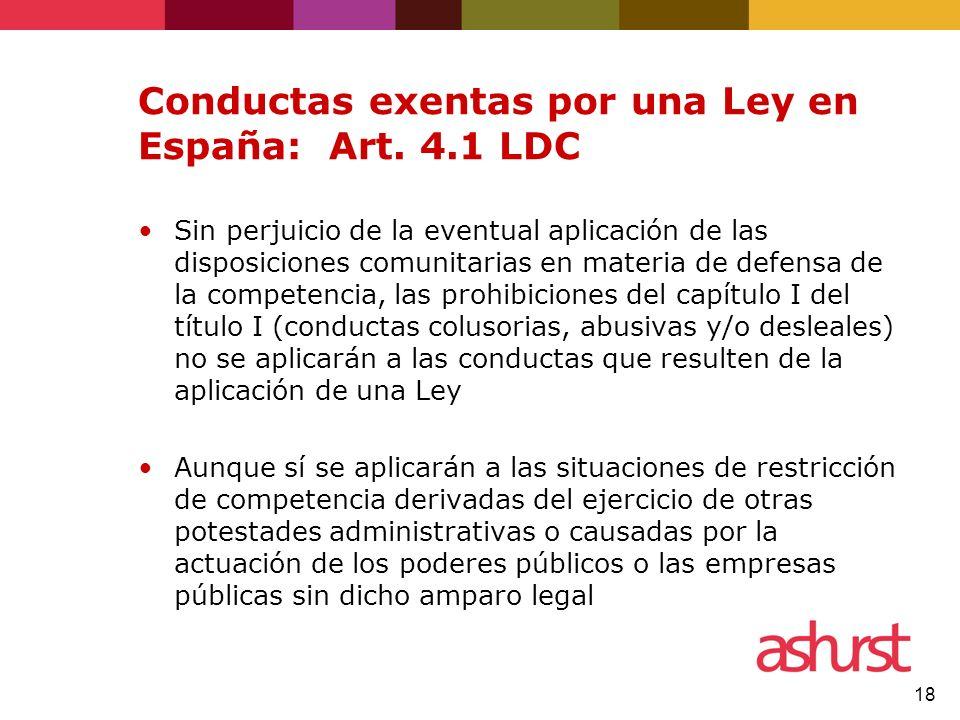 Conductas exentas por una Ley en España: Art. 4.1 LDC