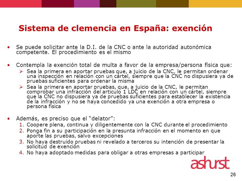 Sistema de clemencia en España: exención