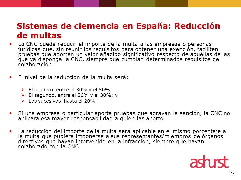 Sistemas de clemencia en España: Reducción de multas
