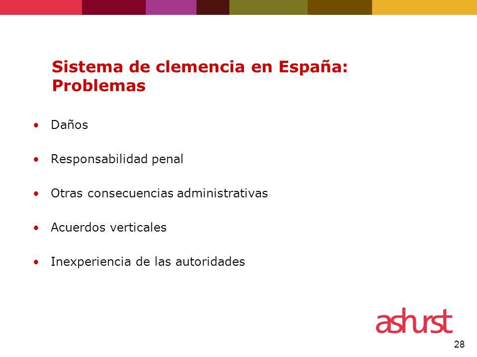 Sistema de clemencia en España: Problemas
