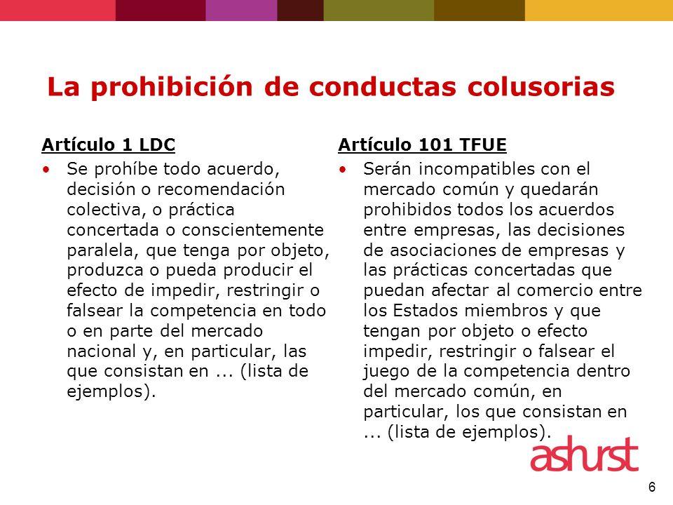 La prohibición de conductas colusorias