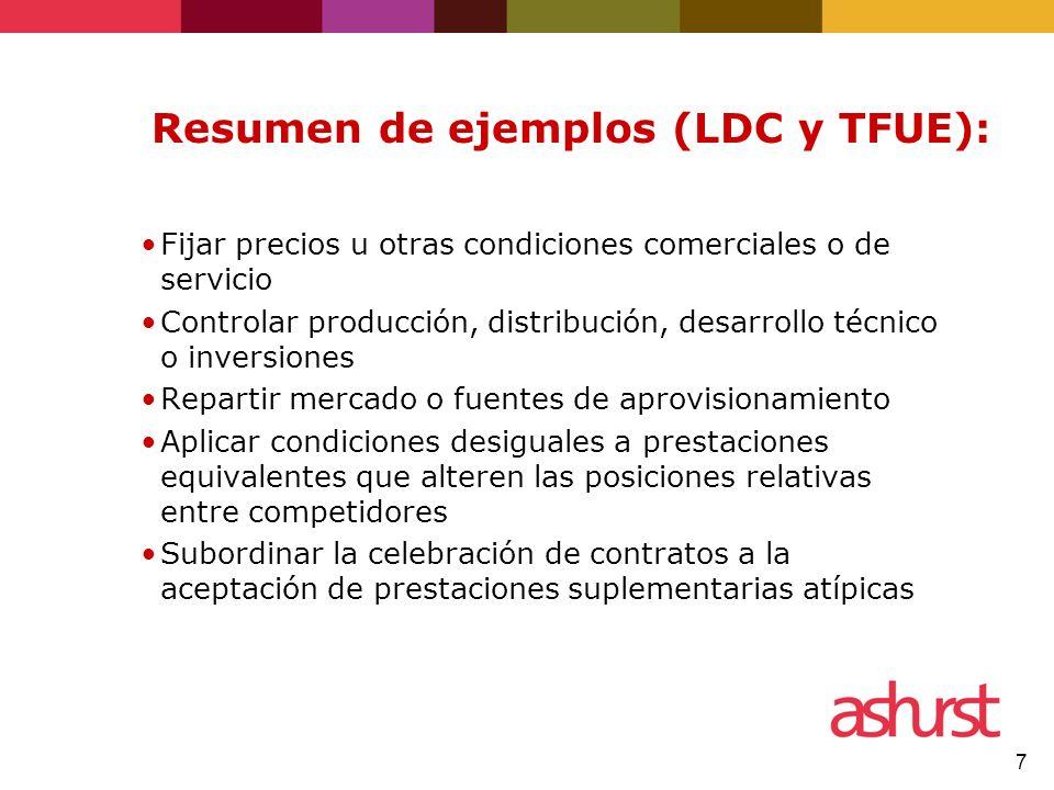 Resumen de ejemplos (LDC y TFUE):