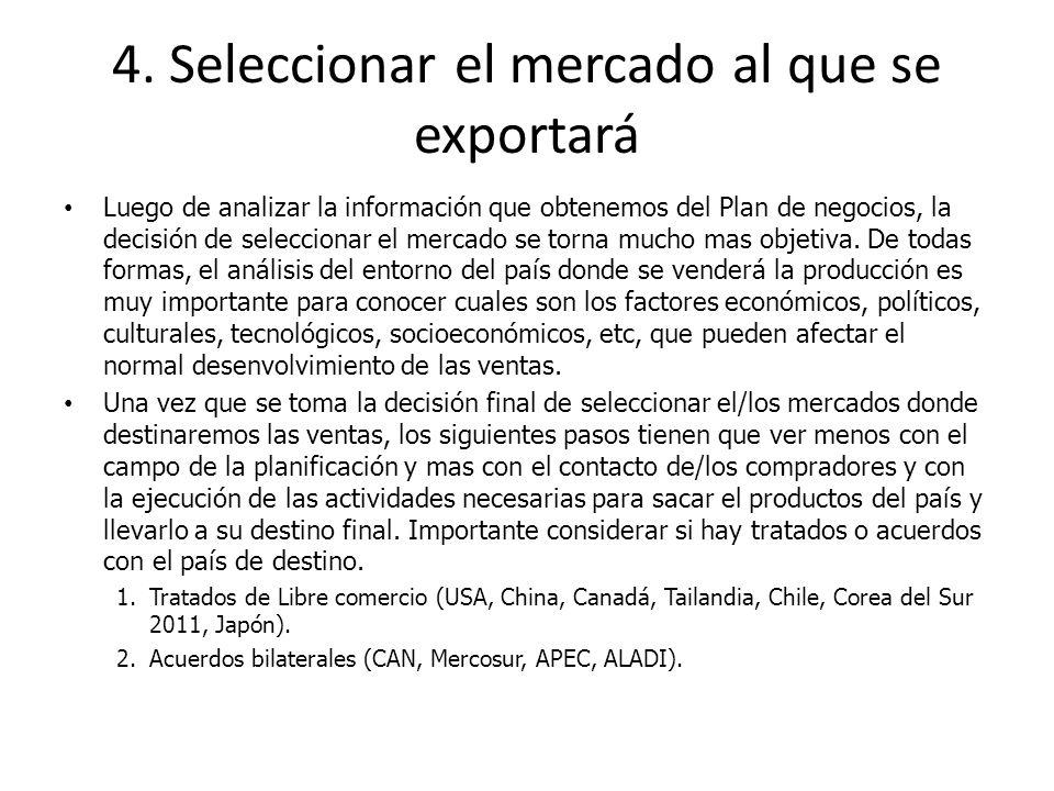 4. Seleccionar el mercado al que se exportará