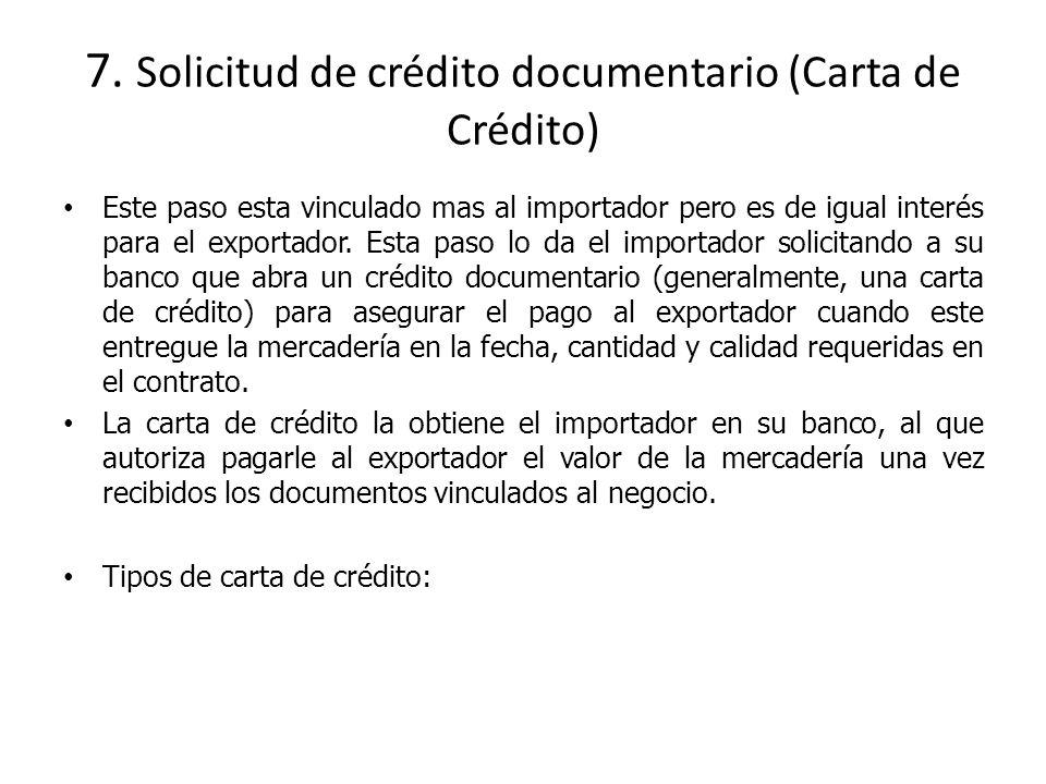 7. Solicitud de crédito documentario (Carta de Crédito)