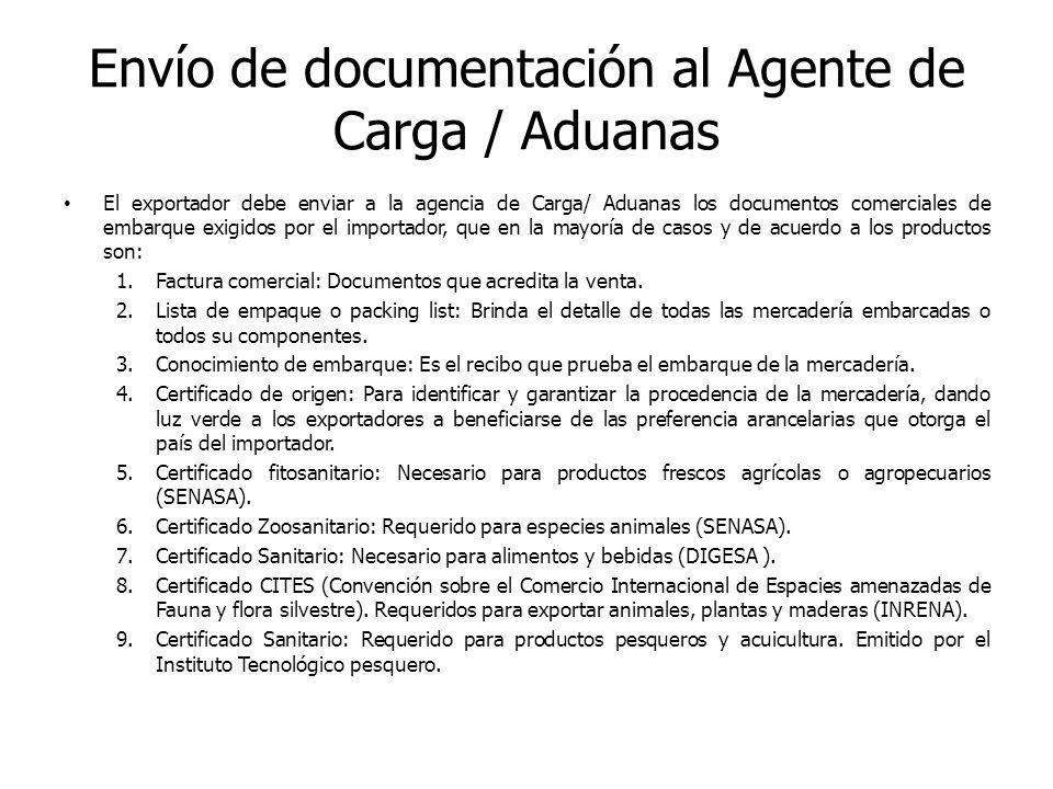 Envío de documentación al Agente de Carga / Aduanas