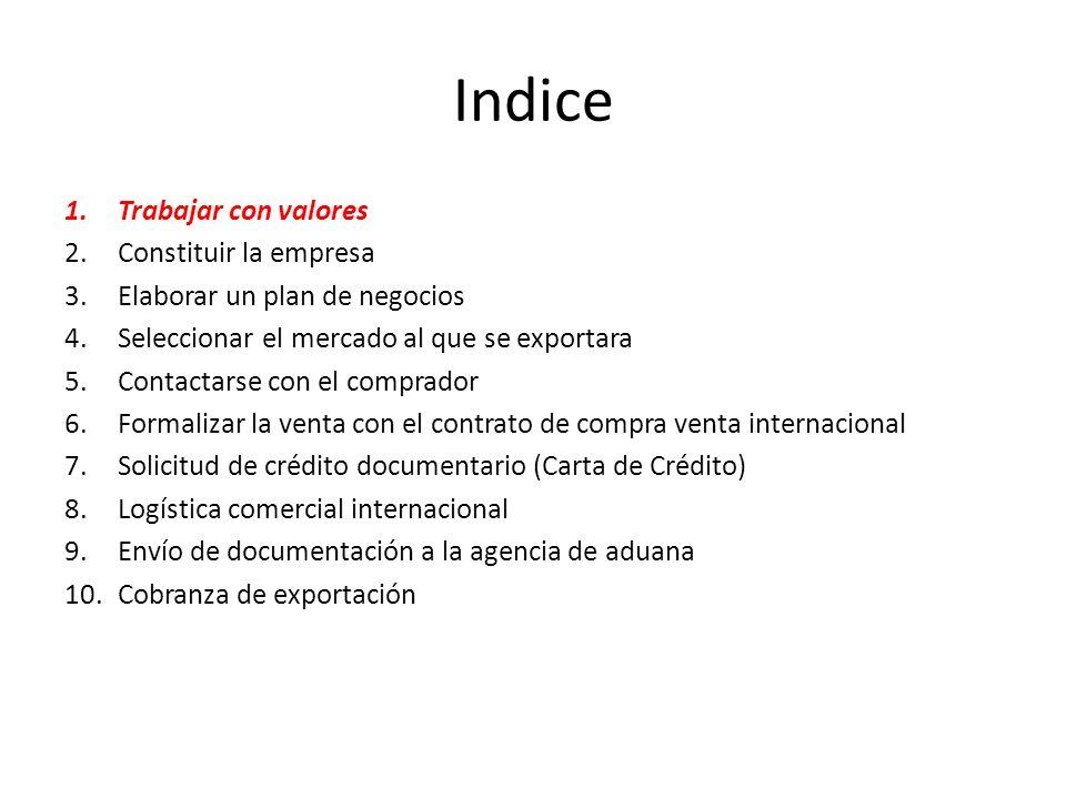 Indice Trabajar con valores Constituir la empresa