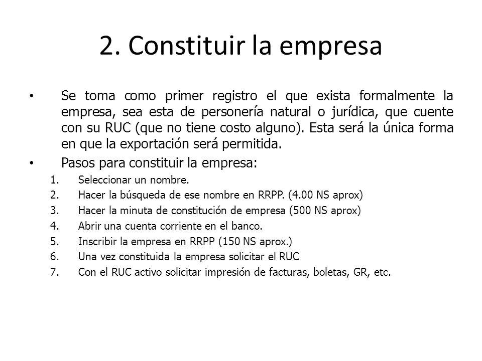 2. Constituir la empresa