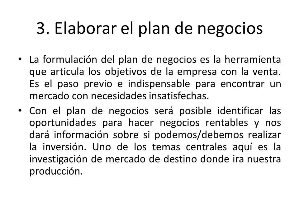 3. Elaborar el plan de negocios