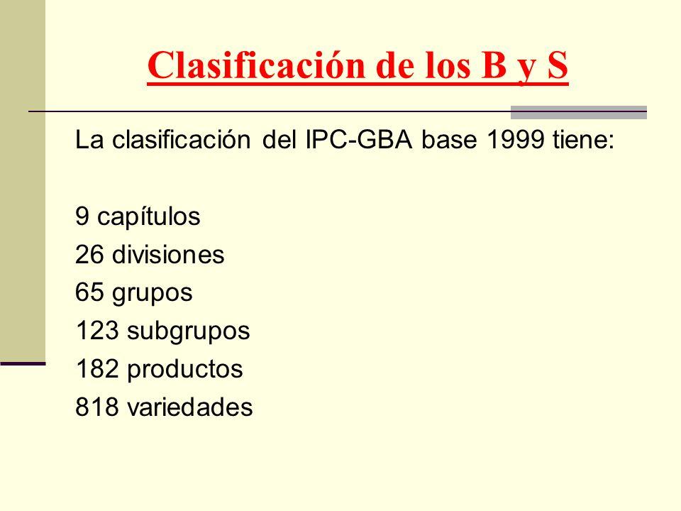 Clasificación de los B y S