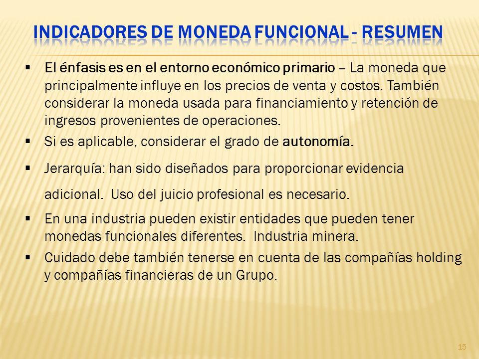 Indicadores de moneda funcional - Resumen