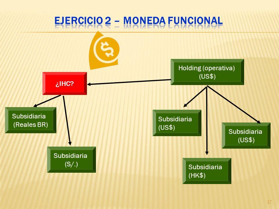 Ejercicio 2 – Moneda funcional