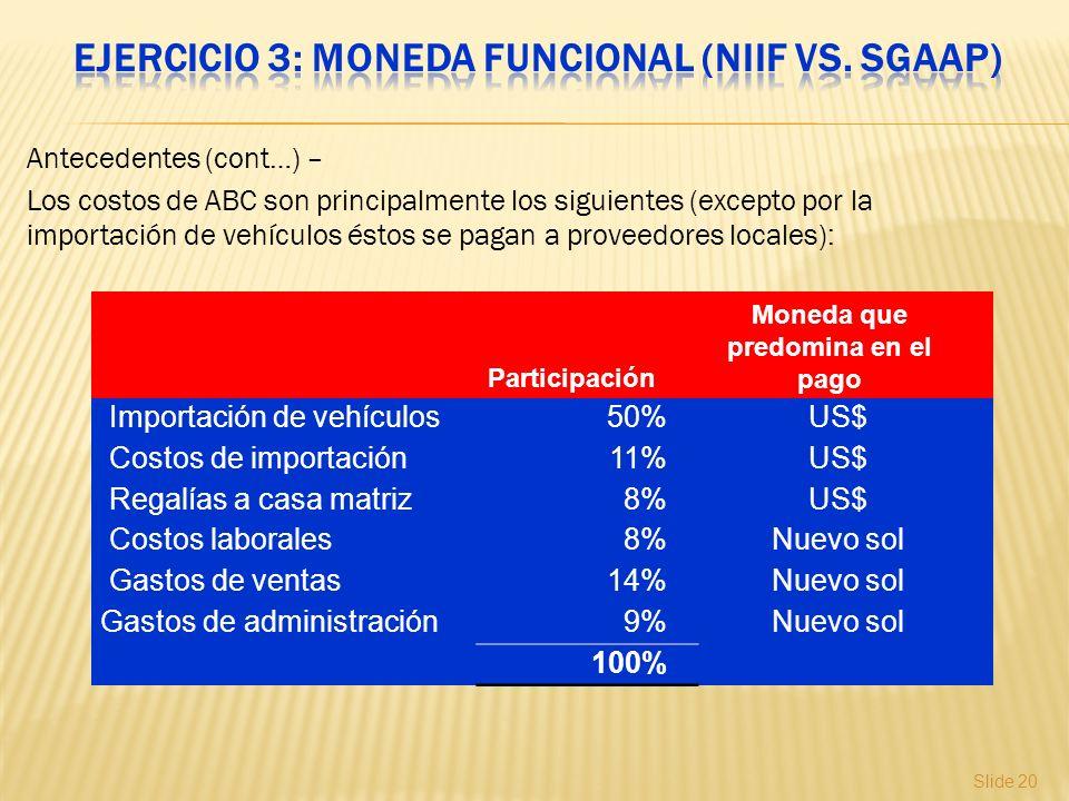 Ejercicio 3: Moneda funcional (NIIF vs. SGAAP)