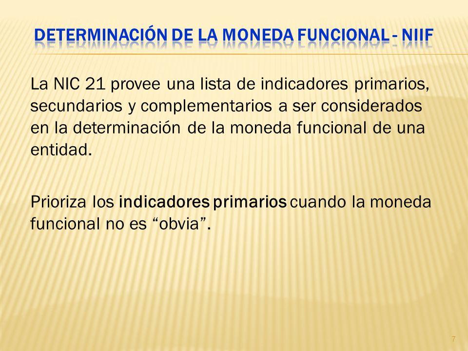 Determinación de la moneda funcional - NIIF