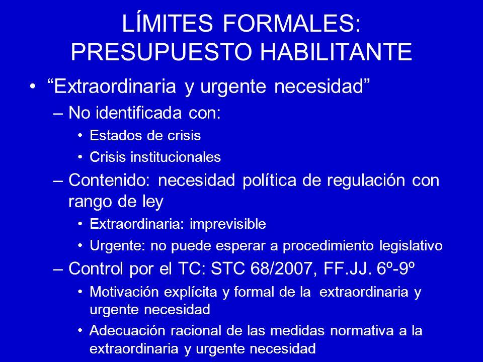 LÍMITES FORMALES: PRESUPUESTO HABILITANTE