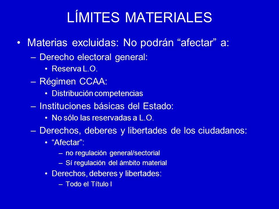 LÍMITES MATERIALES Materias excluidas: No podrán afectar a: