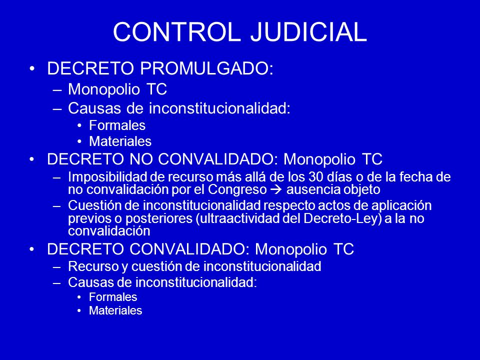 CONTROL JUDICIAL DECRETO PROMULGADO: Monopolio TC