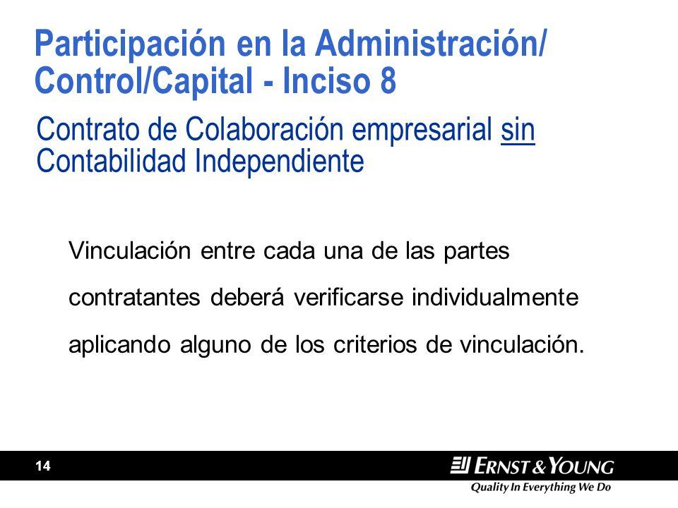 Participación en la Administración/ Control/Capital - Inciso 8