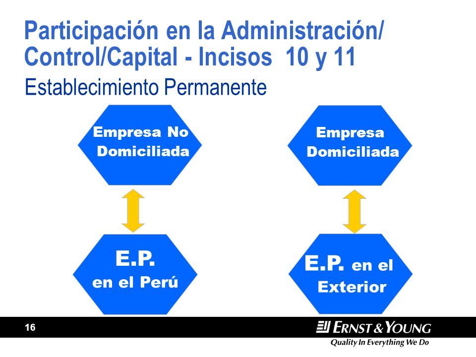 Participación en la Administración/ Control/Capital - Incisos 10 y 11