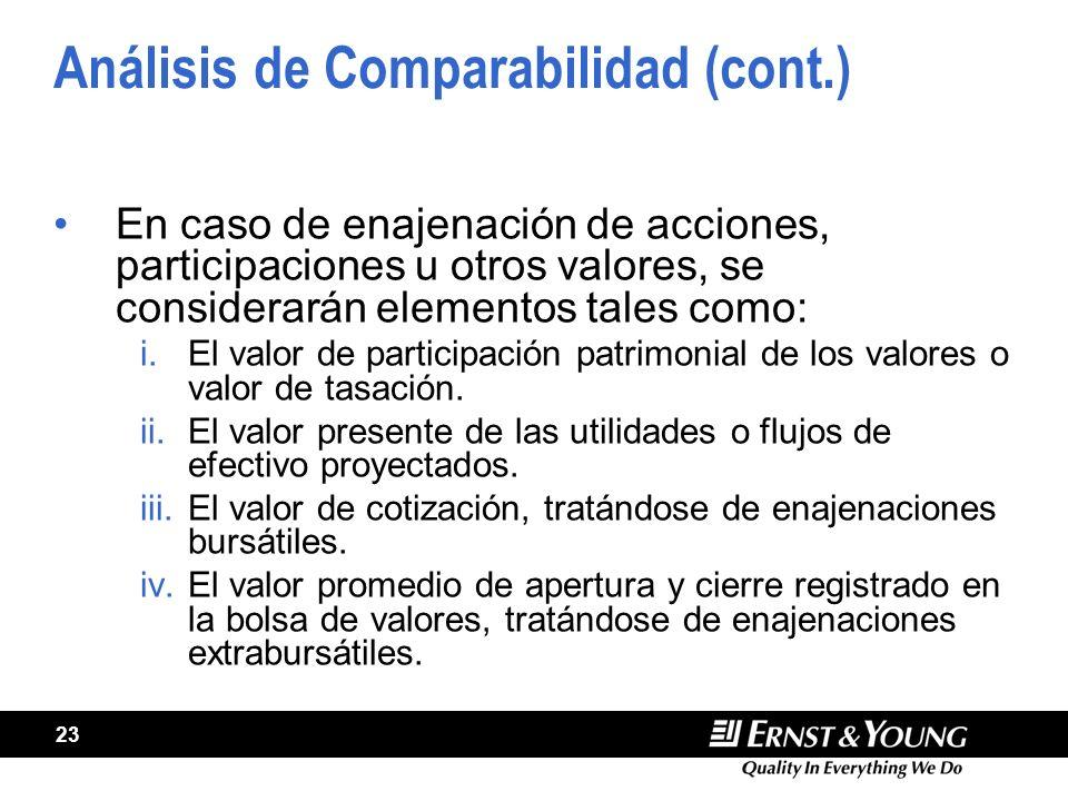 Análisis de Comparabilidad (cont.)