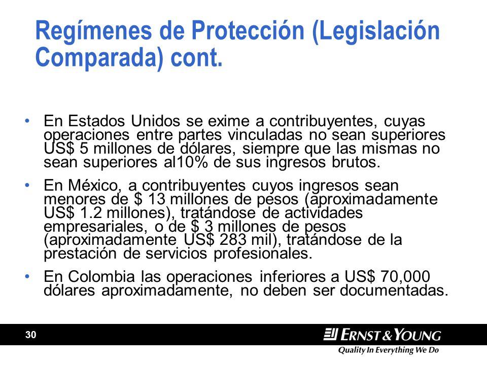 Regímenes de Protección (Legislación Comparada) cont.