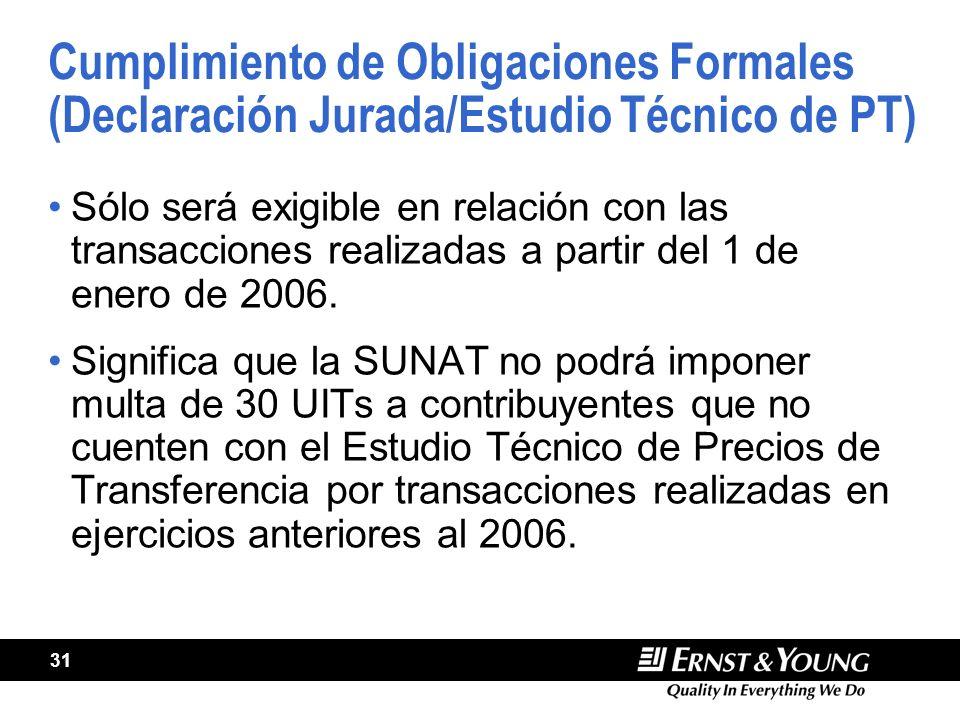 Cumplimiento de Obligaciones Formales (Declaración Jurada/Estudio Técnico de PT)
