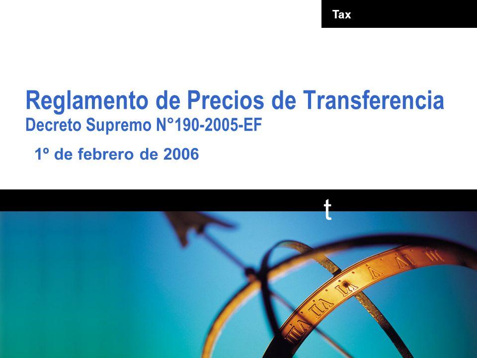 Reglamento de Precios de Transferencia Decreto Supremo N°190-2005-EF