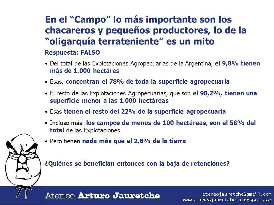 En el Campo lo más importante son los chacareros y pequeños productores, lo de la oligarquía terrateniente es un mito