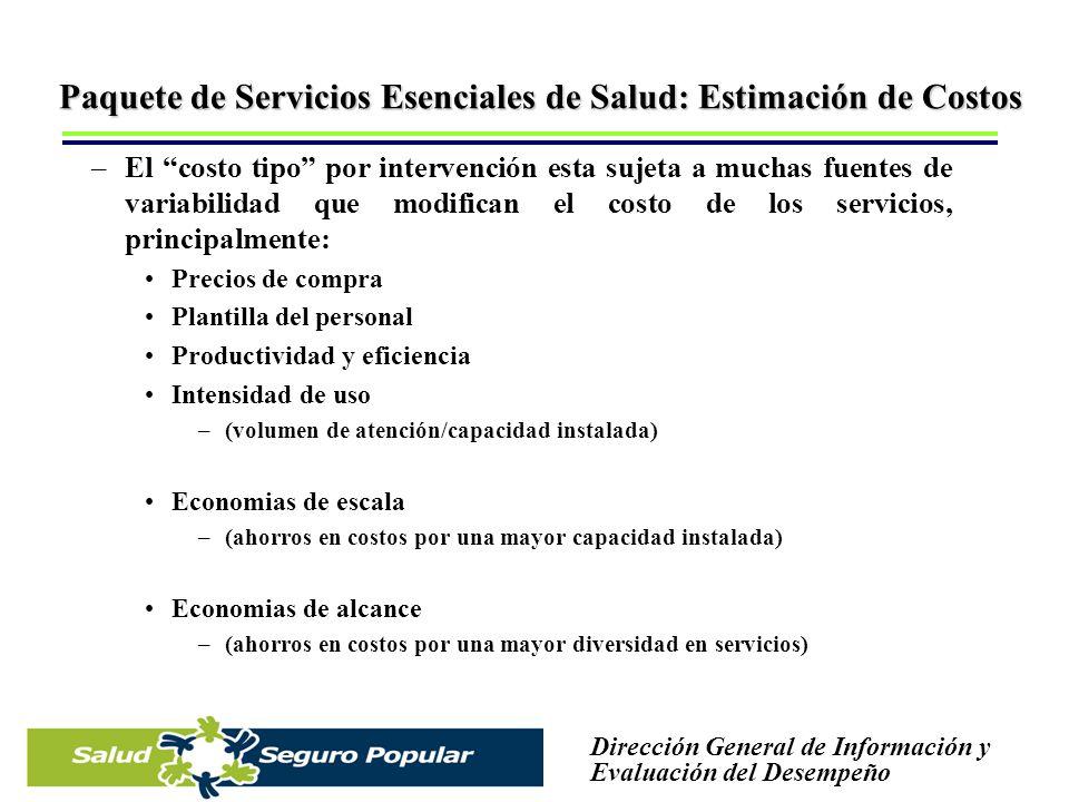 Paquete de Servicios Esenciales de Salud: Estimación de Costos