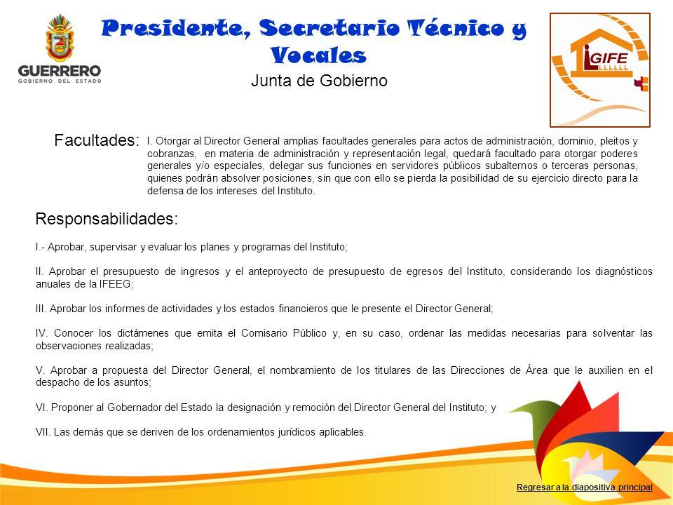 Presidente, Secretario Técnico y