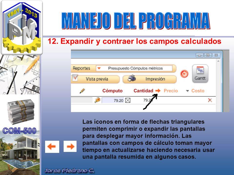 MANEJO DEL PROGRAMA 12. Expandir y contraer los campos calculados