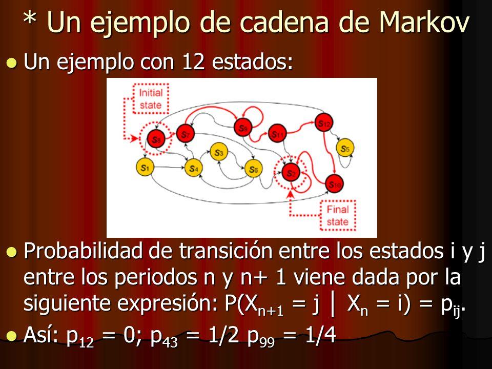 * Un ejemplo de cadena de Markov