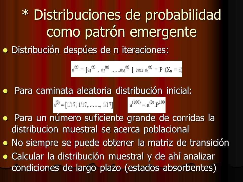 * Distribuciones de probabilidad como patrón emergente