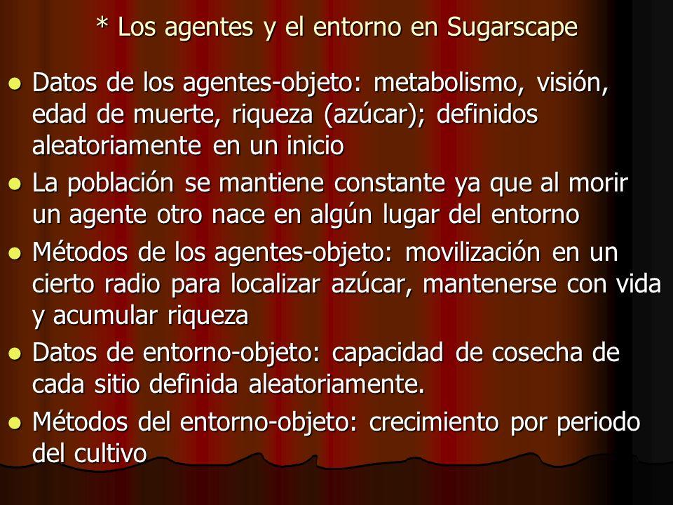 * Los agentes y el entorno en Sugarscape