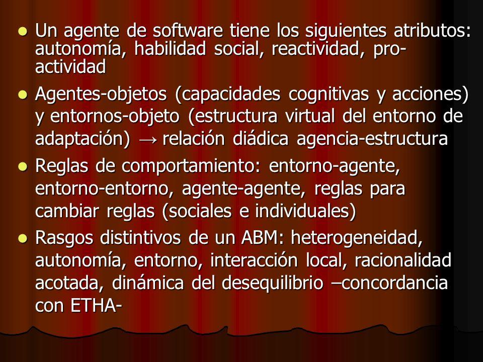 Un agente de software tiene los siguientes atributos: autonomía, habilidad social, reactividad, pro-actividad