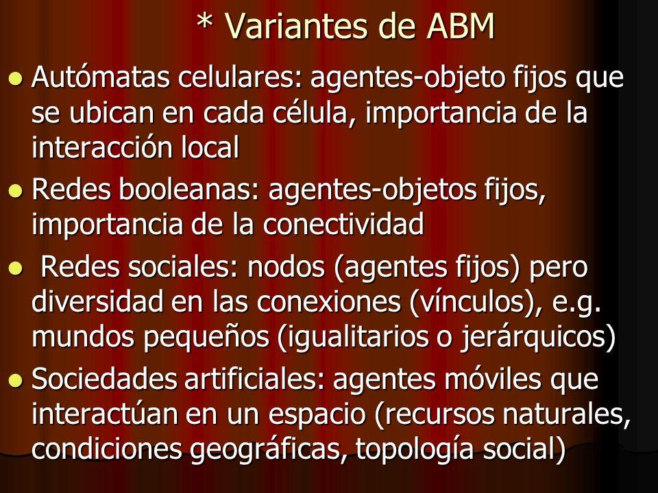 * Variantes de ABM Autómatas celulares: agentes-objeto fijos que se ubican en cada célula, importancia de la interacción local.