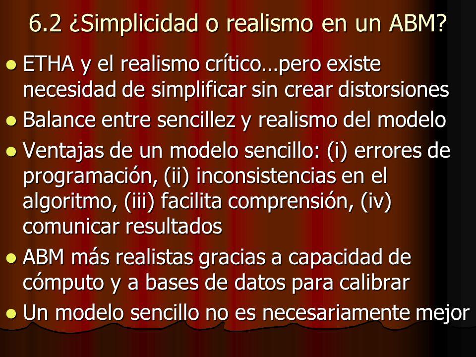6.2 ¿Simplicidad o realismo en un ABM