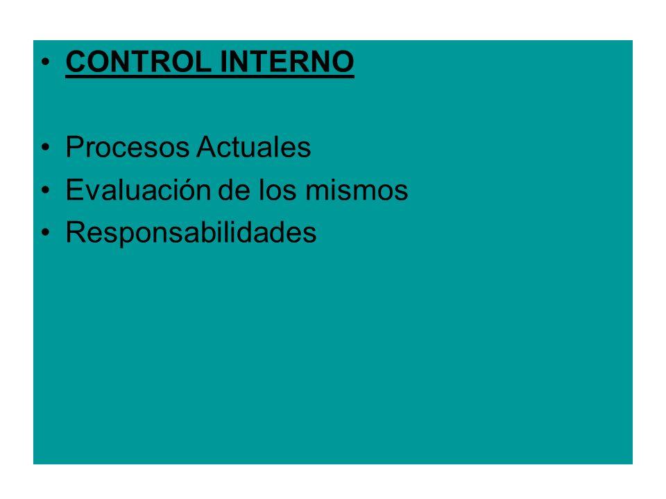 CONTROL INTERNO Procesos Actuales Evaluación de los mismos Responsabilidades