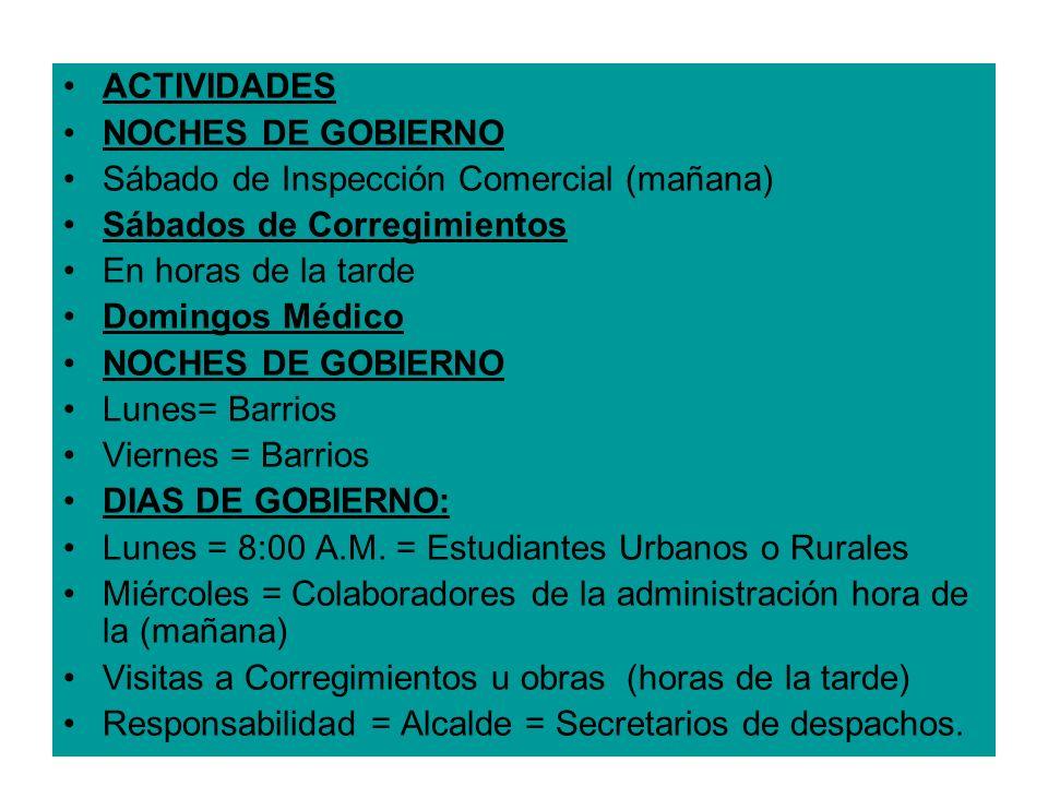 ACTIVIDADES NOCHES DE GOBIERNO. Sábado de Inspección Comercial (mañana) Sábados de Corregimientos.
