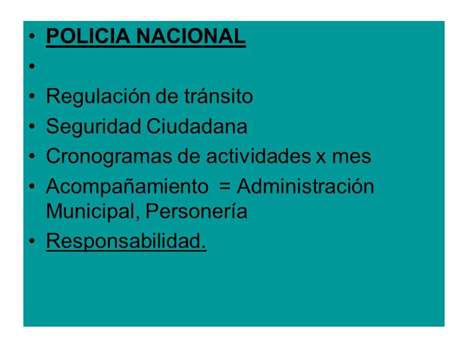 POLICIA NACIONAL Regulación de tránsito. Seguridad Ciudadana. Cronogramas de actividades x mes.