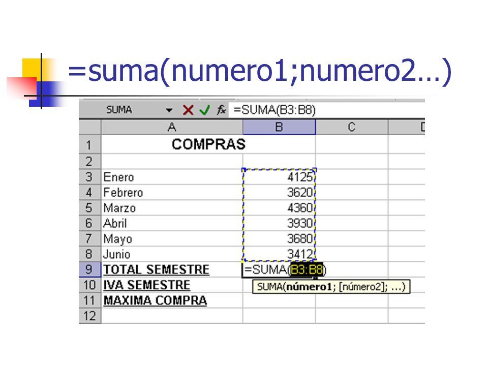 =suma(numero1;numero2…)