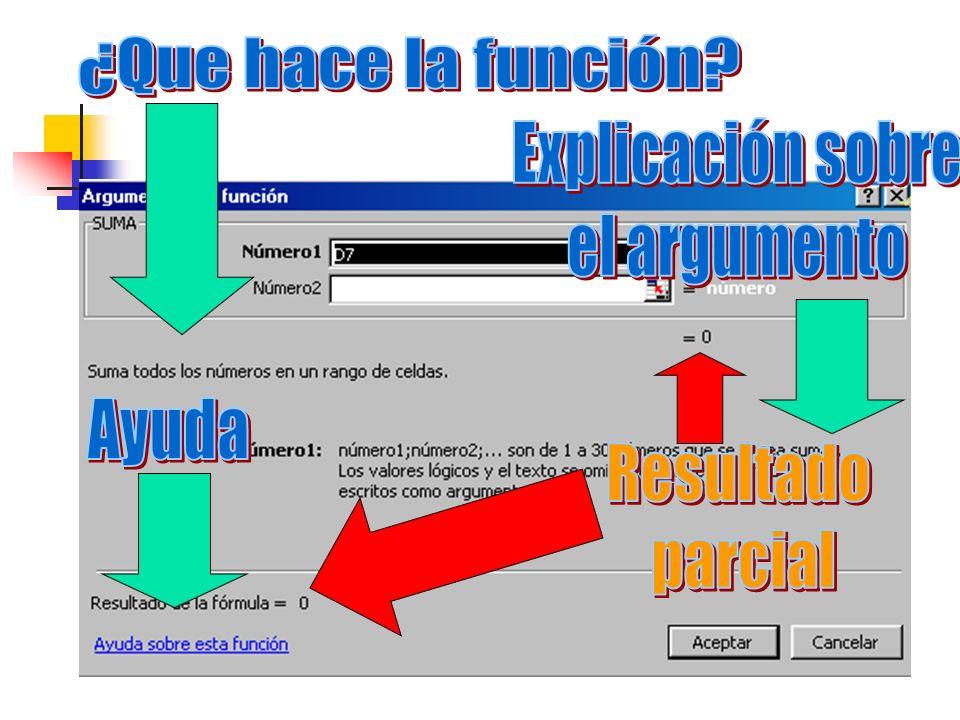 ¿Que hace la función Explicación sobre el argumento Ayuda Resultado parcial