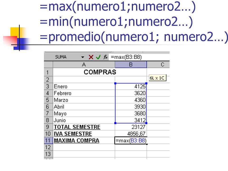=max(numero1;numero2…) =min(numero1;numero2…) =promedio(numero1; numero2…)