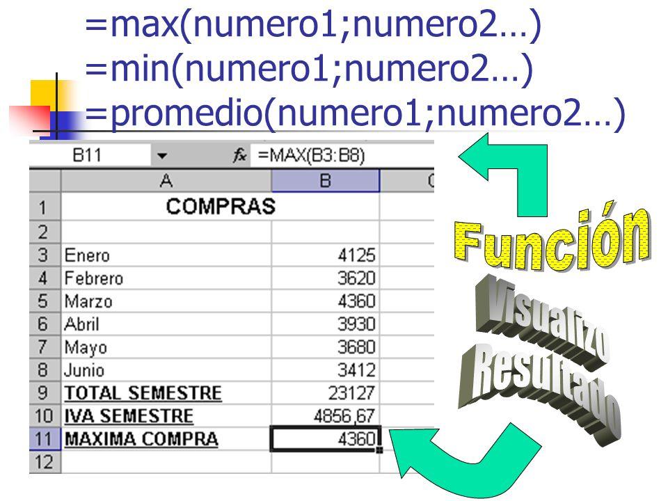 =max(numero1;numero2…) =min(numero1;numero2…) =promedio(numero1;numero2…)