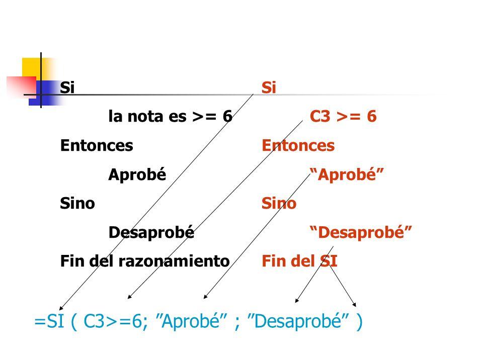 =SI ( C3>=6; Aprobé ; Desaprobé )