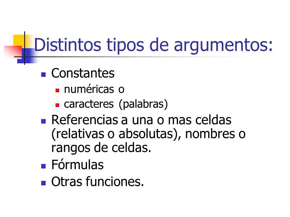 Distintos tipos de argumentos: