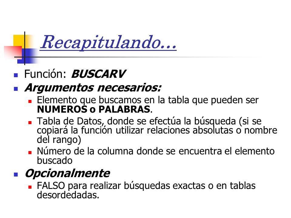 Recapitulando… Función: BUSCARV Argumentos necesarios: Opcionalmente