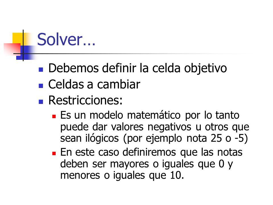 Solver… Debemos definir la celda objetivo Celdas a cambiar