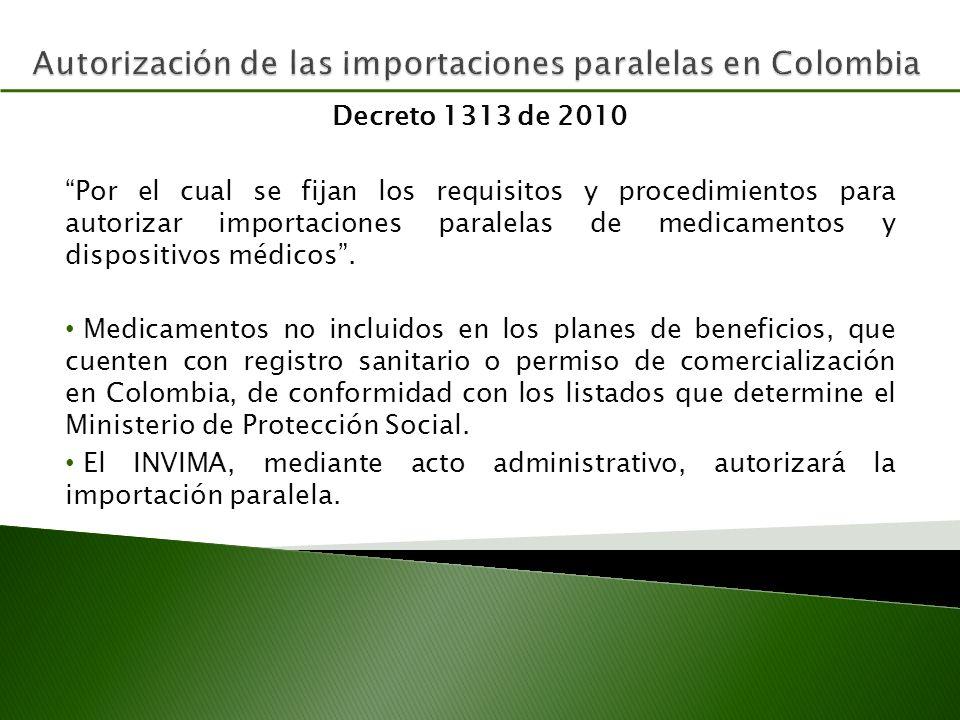 Autorización de las importaciones paralelas en Colombia