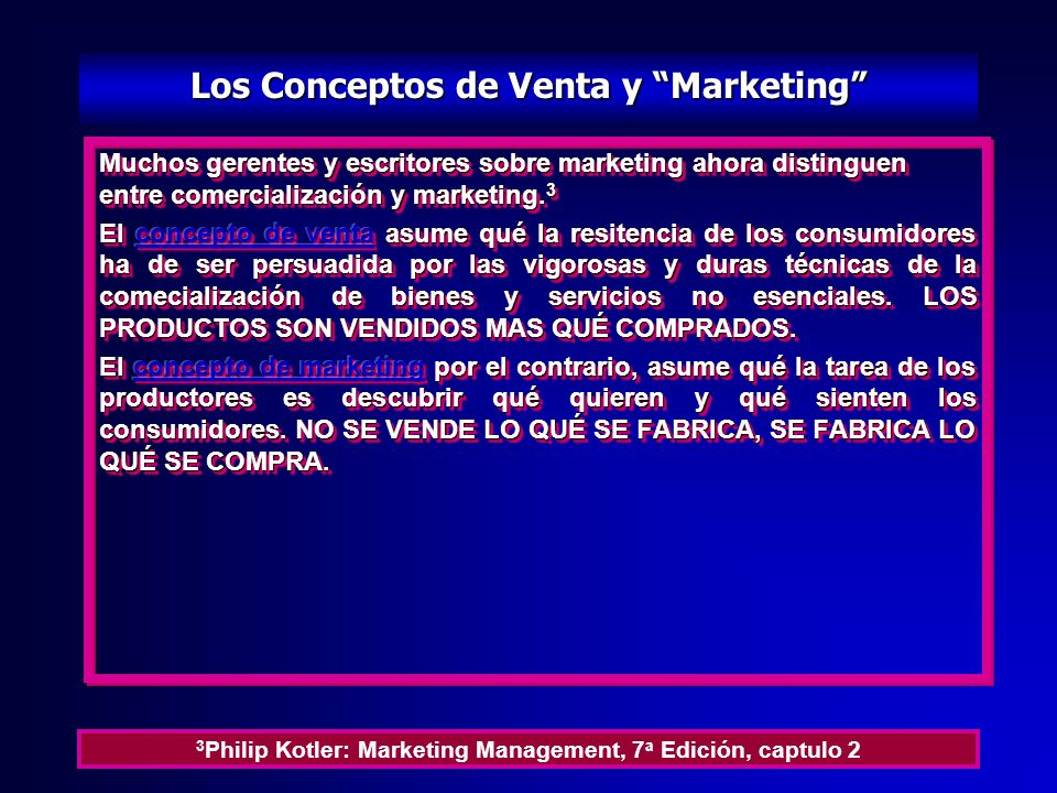 Los Conceptos de Venta y Marketing